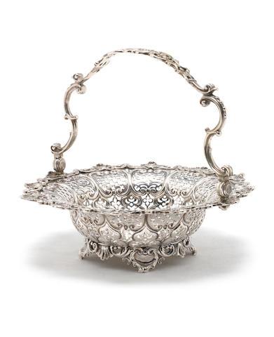 A George II silver swing-handled basket by William Solomon, London 1757