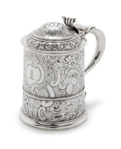 A George I  silver  lidded-tankard hallmarks partially lost in later decoration, possibly by Thomas Parr, London 1720