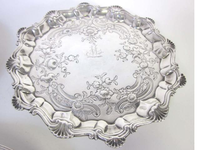 A George II silver waiter by Robert Rew, London 1758; together with another example  (2)