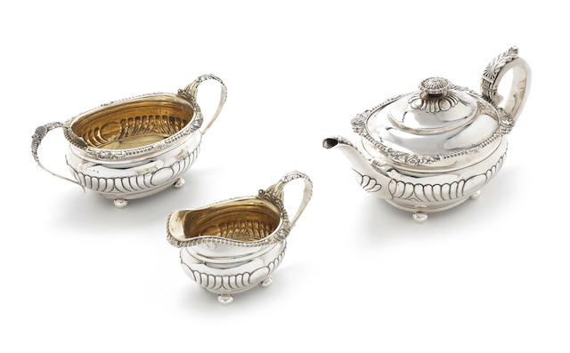 A George III provincial silver three piece tea service by James Barber & William Whitwell, York, 1817  (3)