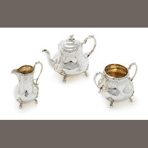 A Victorian  silver three piece tea service by Robert Harper London, 1856