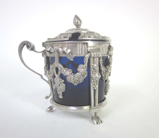 A late 18th century Belgian  silver  mustard pot possibly an alternative mark for Antoine Jean Belin, Tournai 1779  (3)