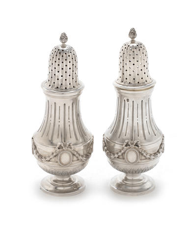 A pair of late 19th/early 20th century French silver casters by G. Boin, with retail mark for Bointaburet á Paris, Paris, stamped with Minerva head  (2)