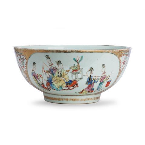 A Canton export Mandarin pattern punch bowl Circa 1800