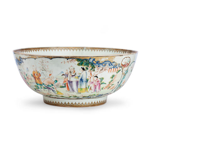 A large Canton export famille rose punchbowl Circa 1800