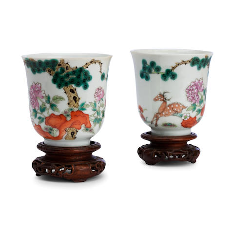 A pair of famille rose beakers Bearing six character Guangxu marks in red