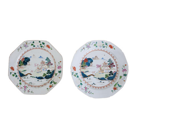 A near pair of famille rose plates 18th century