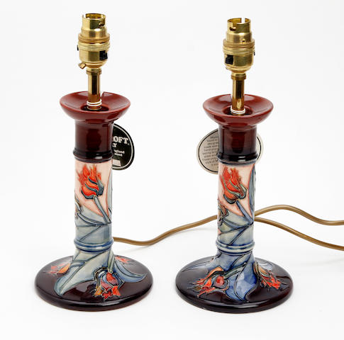 A pair of 'Red Tulip' pattern lamp bases  Circa 1991