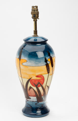 A Moorcroft 'Reeds at Sunset' pattern lamp base Circa 1990