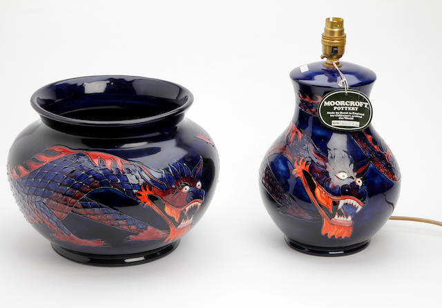 A Moorcroft 'Dragon' pattern jardinière  and lamp base  Circa 1987