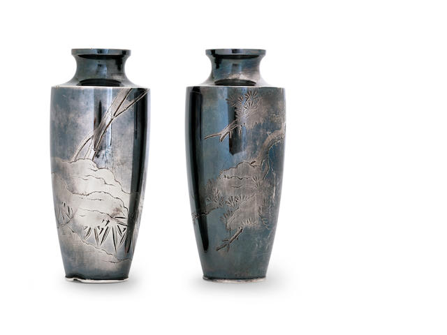 A pair of silver miniature vases Circa 1900