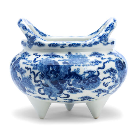 A blue and white tripod censer Qianlong seal mark but later