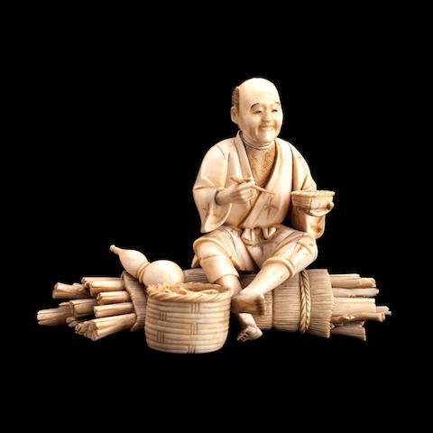 A sectional ivory okimono Meiji