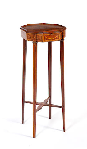 A 19th Century inlaid mahogany kettle stand,