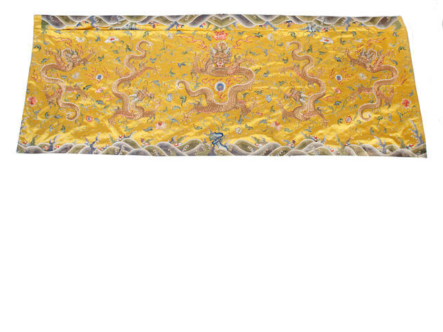 A Chinese embroidered dragon panel