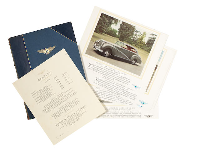 A deluxe bound edition of 'Bentley - The Silent Sports Car' sales catalogue, October 1952,