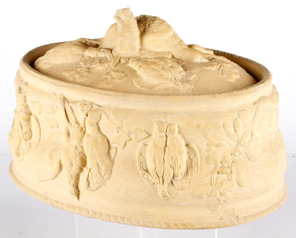 A Victorian caneware game pie dish