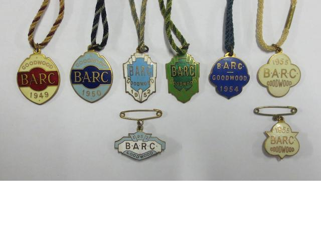 Six post-War enamel BARC Goodwood member's and two guest badges,