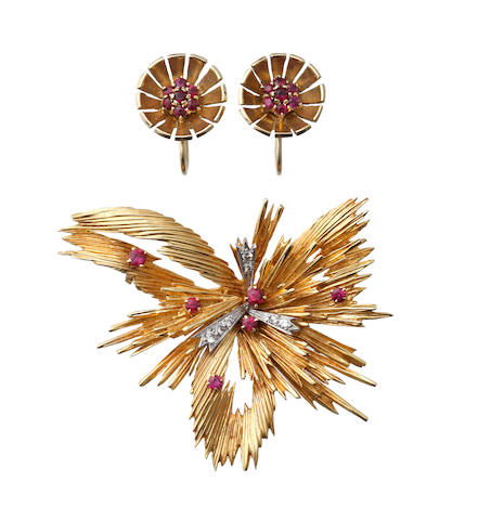 An 18ct gold ruby and diamond brooch and a pair of ruby earclips (2)