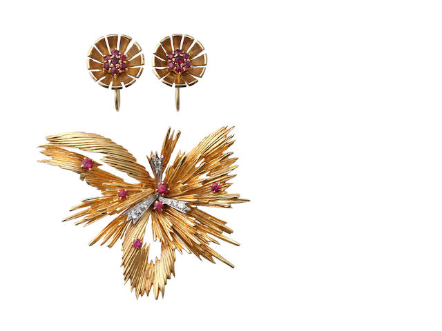 An 18ct gold ruby and diamond brooch and a pair of ruby earclips
