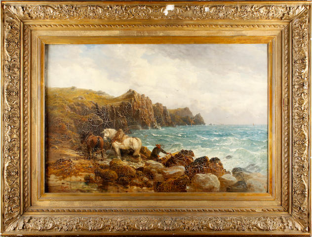 English School, 19th century Harnessed horses by a rocky cove