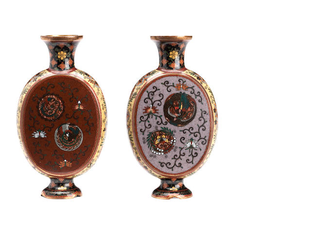 A pair of cloisonné pilgrim flasks Meiji