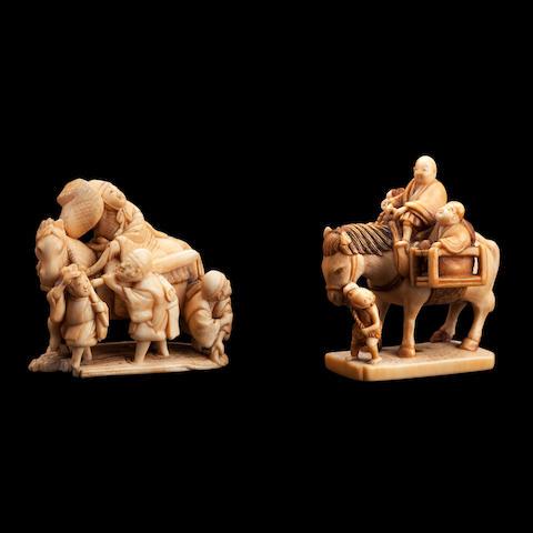 Two ivory netsuke Meiji