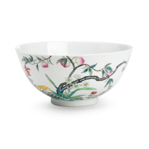 A famille rose bowl Guangxu underglaze six character mark in blue