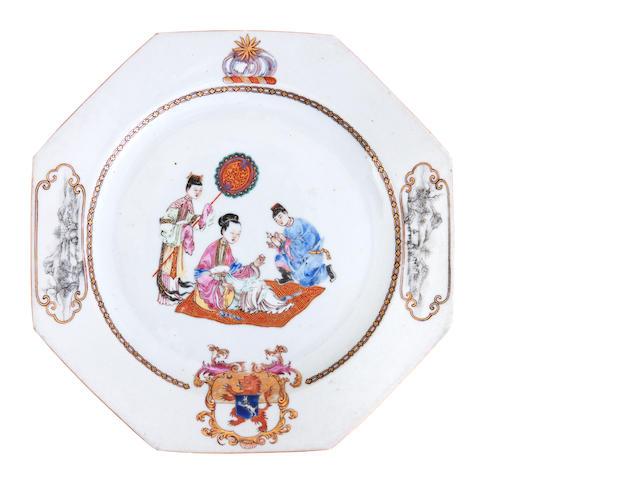 A famille rose armorial plate Circa 1750