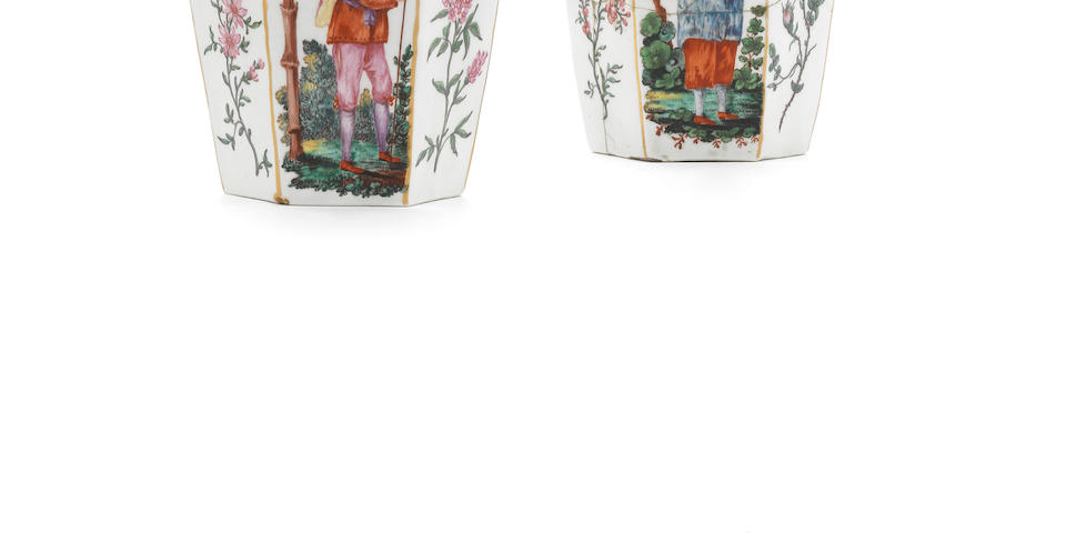 A remarkable pair of Worcester hexagonal vases decorated in the Giles Workshop, circa 1765-68