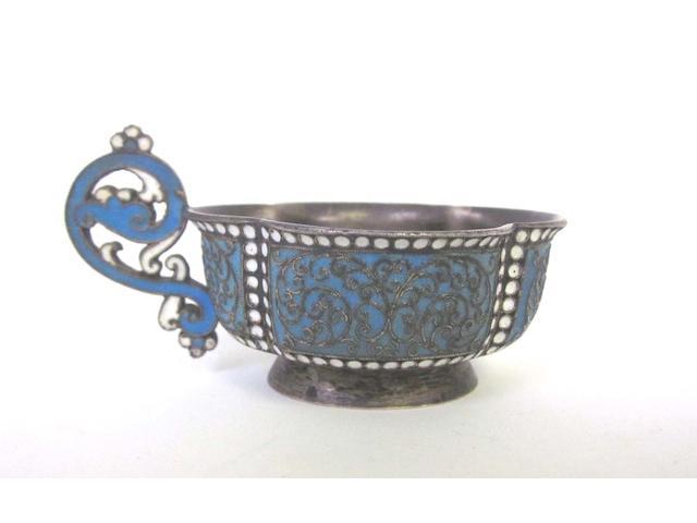 A 19th century Russian  silver and enamel  cup possibly by Ivan Saltykov, Ivan Sveshnikov, Ivan Sedov or Iosel Sorkin, assay master Aleksandr Vladislavoritch Skovronsky, Moscow 1895  (1)