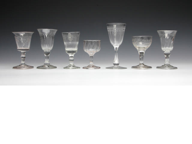 A collection of 18th Century and later glasses