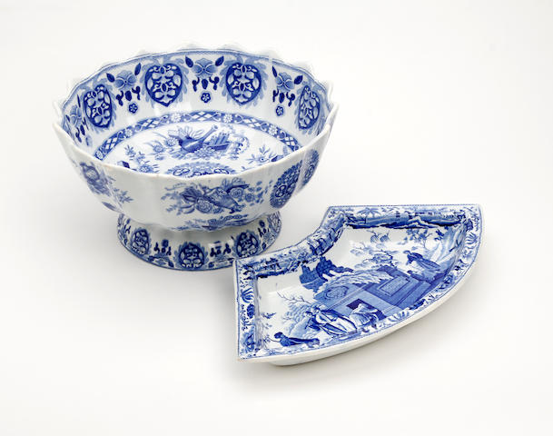 A Spode 'Trophies Etruscan' blue printed punch bowl Circa 1825-35