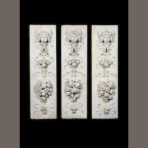 A set of three 19th Century relief-carved marble panels from the Bodley Reredos After the design by George Frederick Bodley RA, by Farmer & Brindley, London