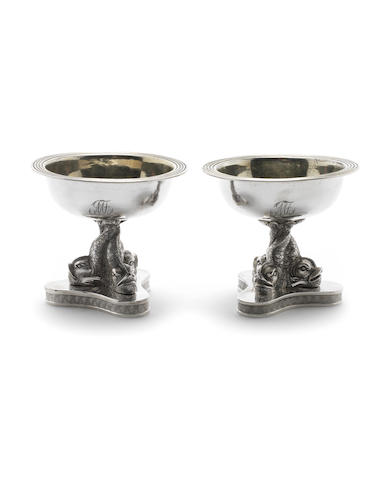 A pair of mid-19th century Italian silver salts Naples, 1835-1863  (2)