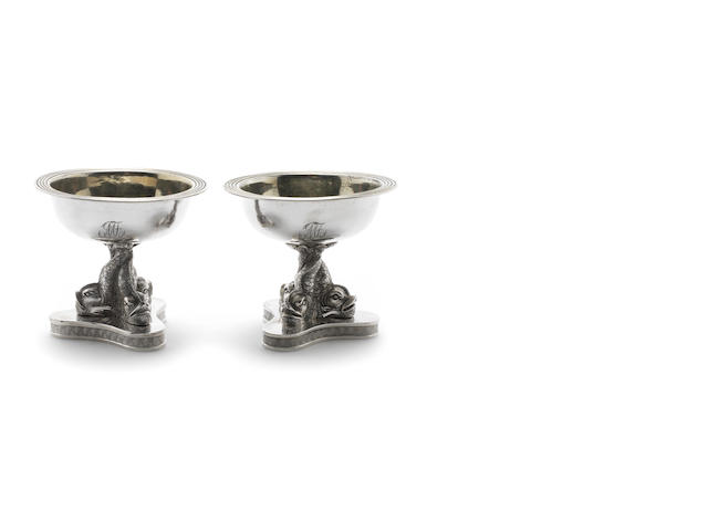 A pair of early 19th century Itailian silver salts, Naples
