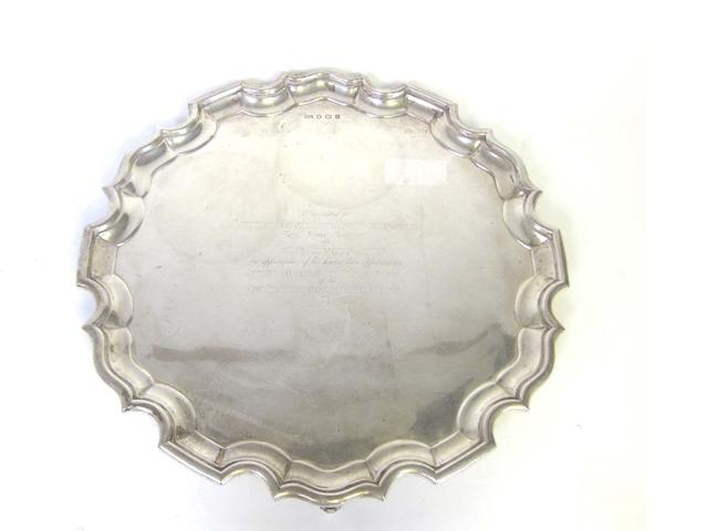 A silver salver possibly by Henry Wigfull, Sheffield 1944  (1)