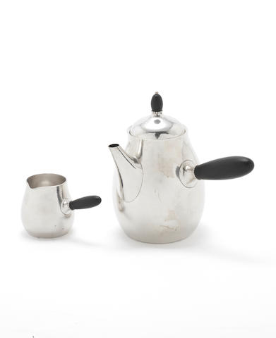 GEORG JENSEN: A silver coffee pot and cream jug incuse pattern numbers 80A, post 1945 marks, DENMARK STERLING  (3)