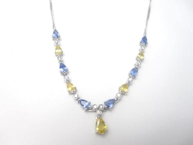 A blue and yellow sapphire and diamond necklace