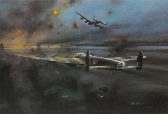 Eleven prints and framed displays of bomber aircraft,