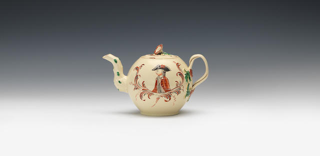 A creamware teapot and cover, circa 1770