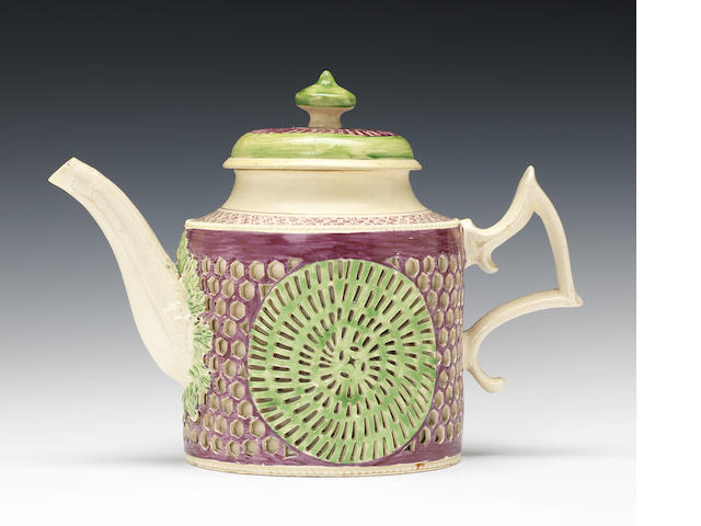 An exceptional double walled cylindrical teapot and cover