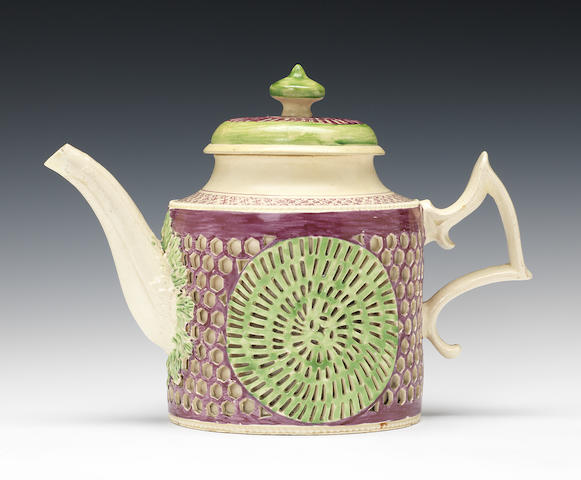 An exceptional Yorkshire creamware double-walled teapot and cover, circa 1775-80