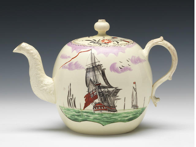 A creamware tepot and cover