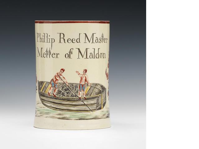 A creamware mug, circa 1770-80