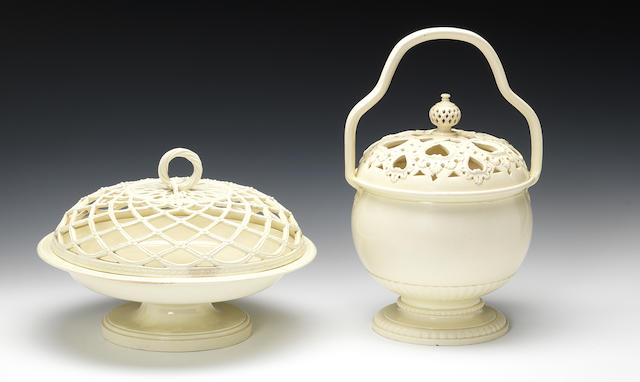 A fine creamware marriage basket and cover and a chestnut dish with cover, circa 1775