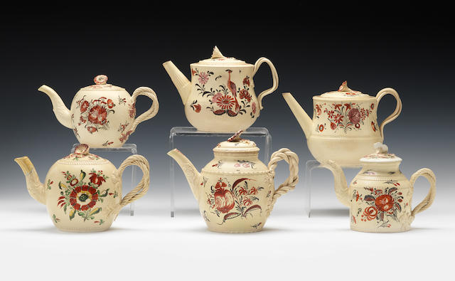 Six creamware teapots and covers, circa 1765-70