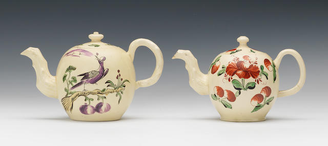 Three small creamware teapots and covers attributed to Cockpit Hill, circa 1765-70