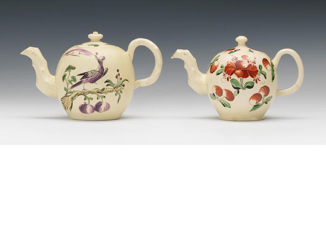 Three small creamware teapots and covers, circa 1765-70