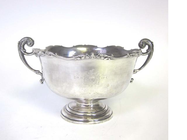 A two-handled silver bowl by Adie Bros Ltd, Birmingham 1942